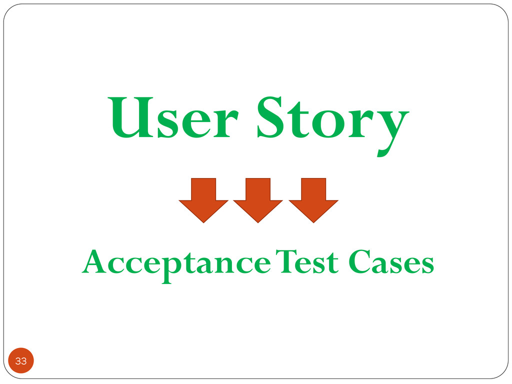 User Story Acceptance Test Cases 33