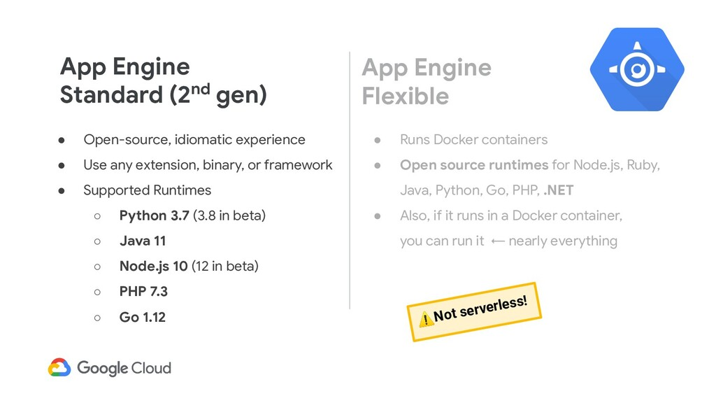 App Engine Standard (2nd gen) ● Open-source, id...