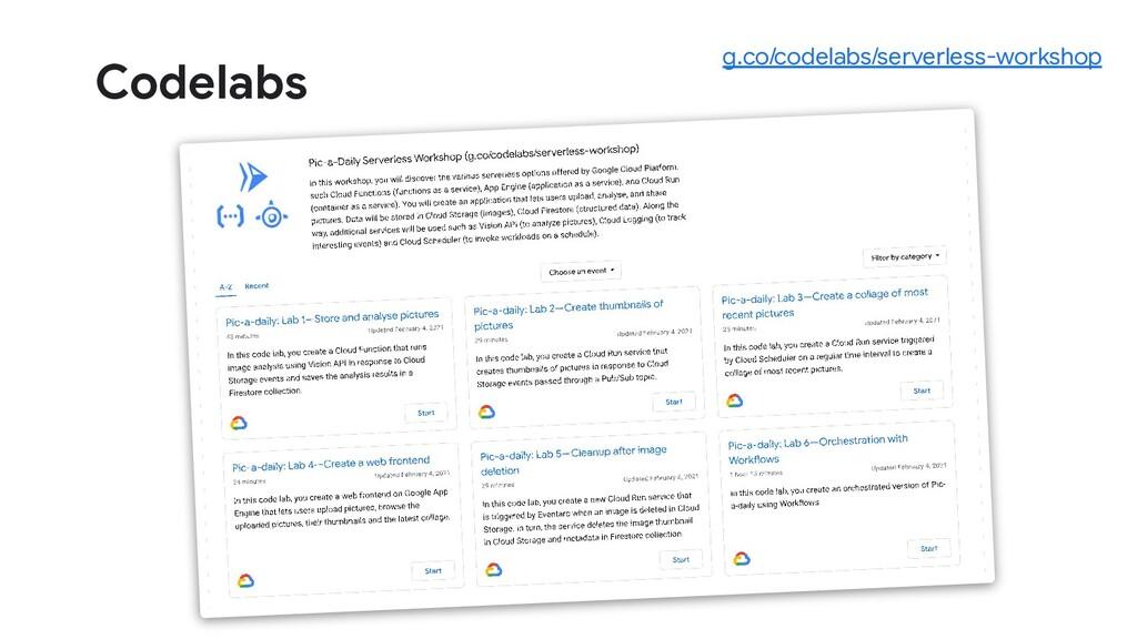 Codelabs g.co/codelabs/serverless-workshop