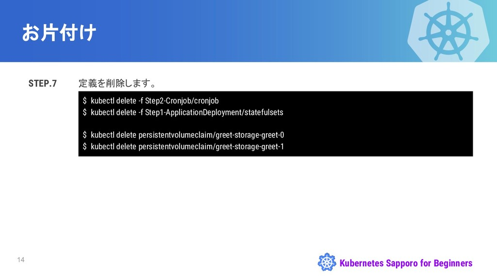 Kubernetes Sapporo for Beginners お片付け STEP.7 定義...