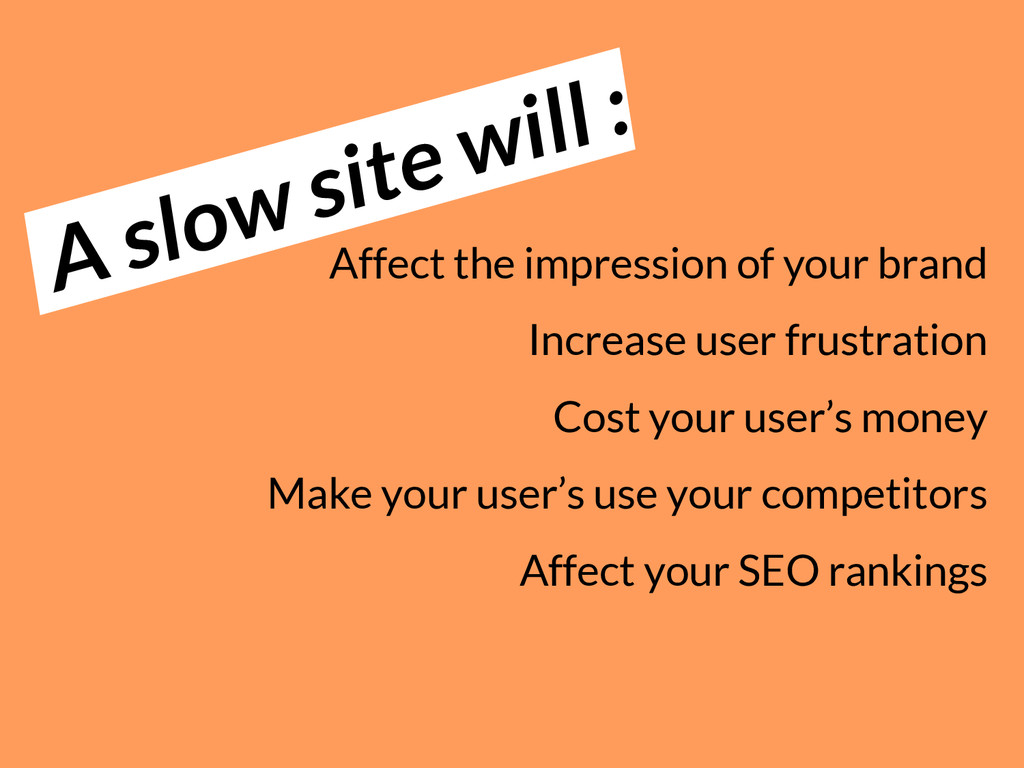 A slow site will : Affect the impression of you...