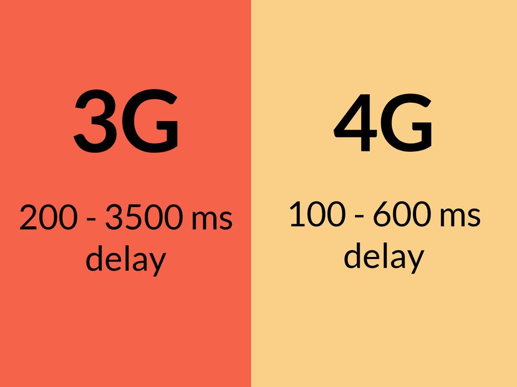 3G 200 - 3500 ms delay 4G 100 - 600 ms delay
