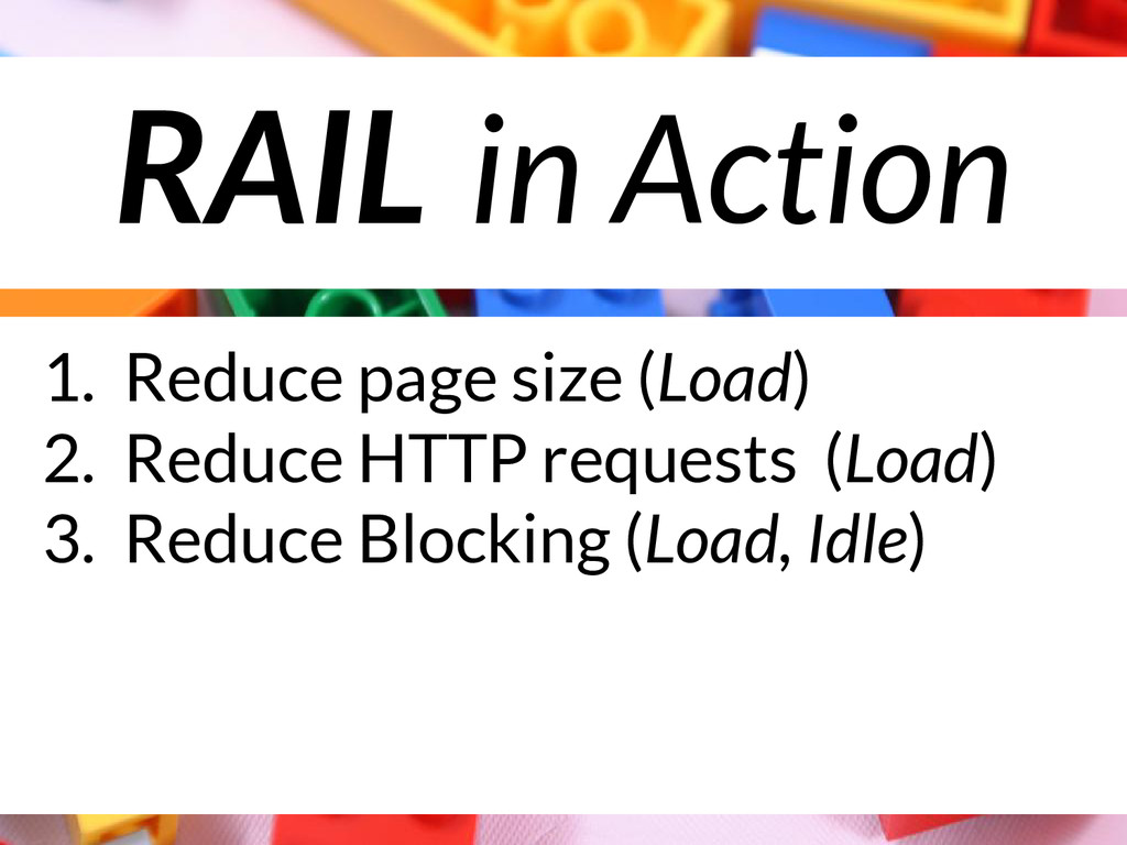 RAIL in Action 1. Reduce page size (Load) 2. Re...