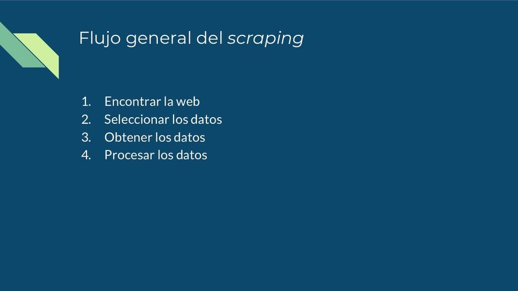 Flujo general del scraping 1. Encontrar la web ...