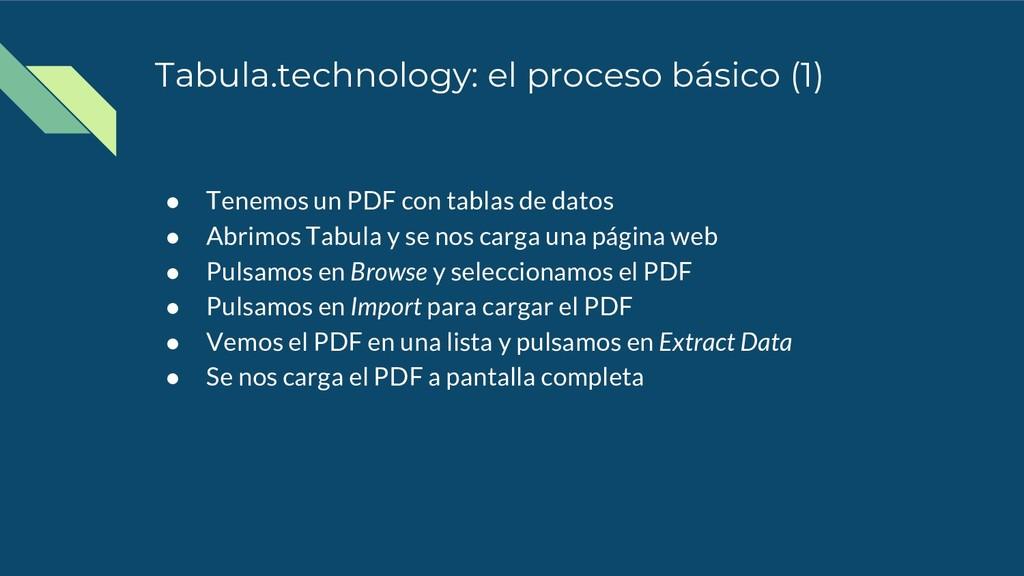 Tabula.technology: el proceso básico (1) ● Tene...