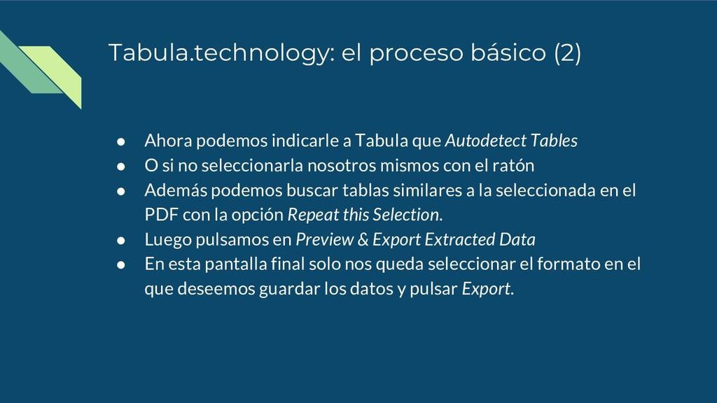 Tabula.technology: el proceso básico (2) ● Ahor...