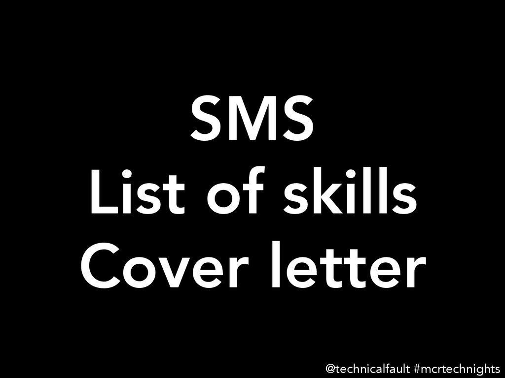 SMS List of skills Cover letter @technicalfa...