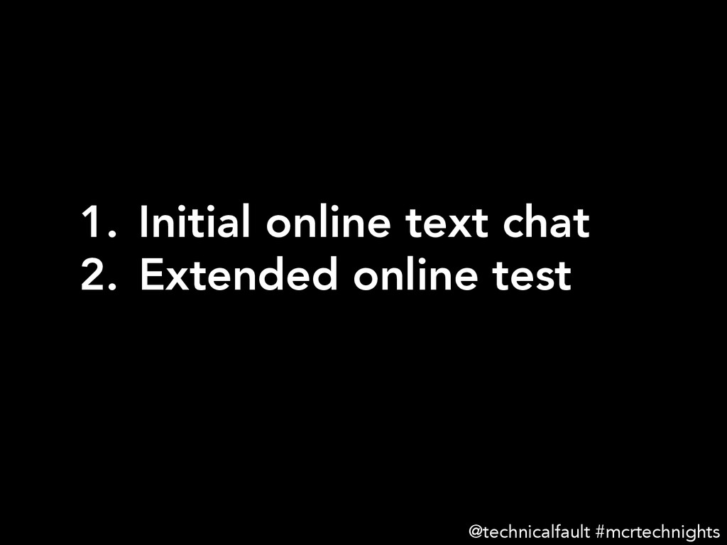 1. Initial online text chat 2. Extended onli...