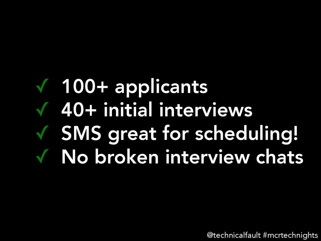 ✓ 100+ applicants ✓ 40+ initial interviews ...