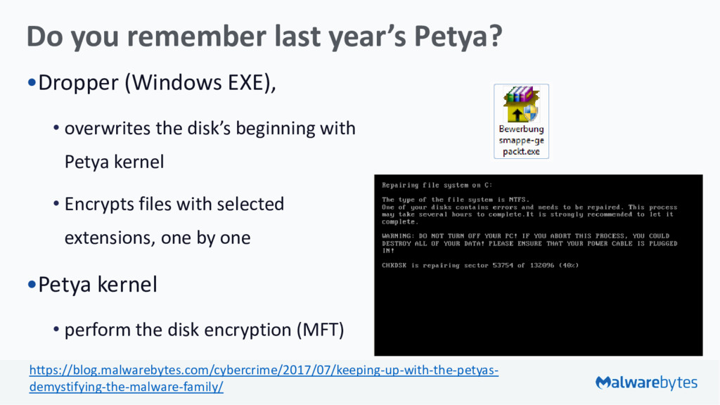 Do you remember last year's Petya? •Dropper (Wi...