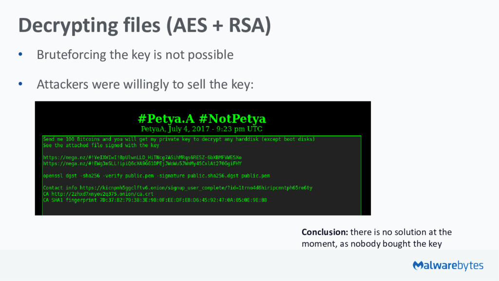 Decrypting files (AES + RSA) • Bruteforcing the...