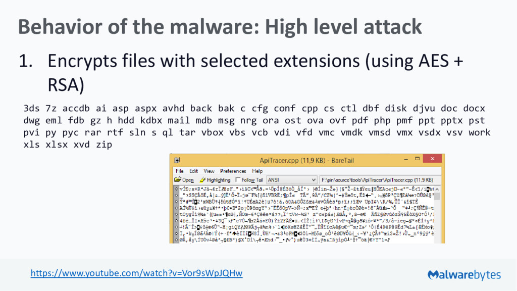 Behavior of the malware: High level attack 1. E...