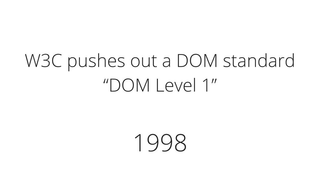 """1998 W3C pushes out a DOM standard """"DOM Level 1"""""""