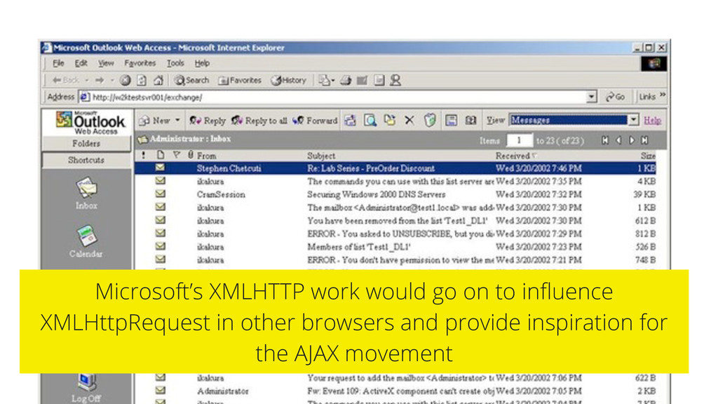 Microsoft's XMLHTTP work would go on to influenc...
