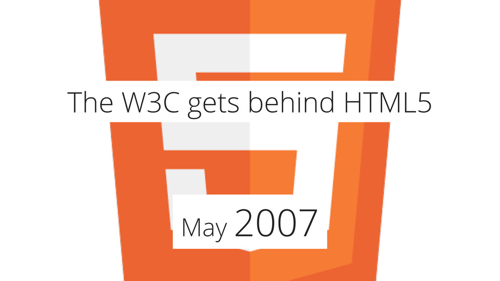 May 2007 The W3C gets behind HTML5