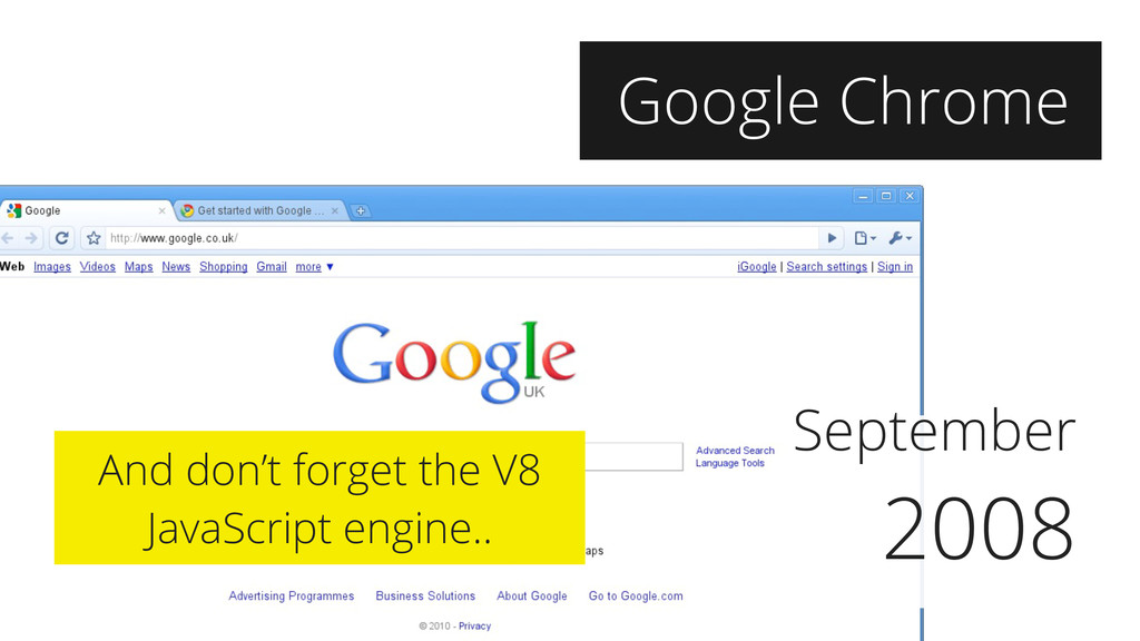 September 2008 Google Chrome And don't forget t...