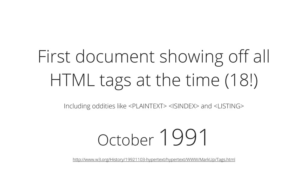 October 1991 First document showing off all HTML...