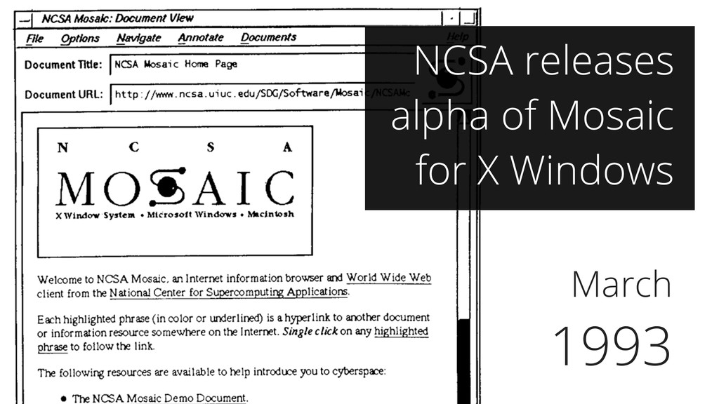 March 1993 NCSA releases alpha of Mosaic for X ...