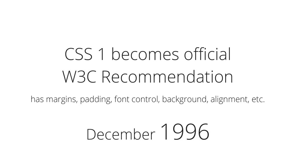 December 1996 CSS 1 becomes official W3C Recommen...