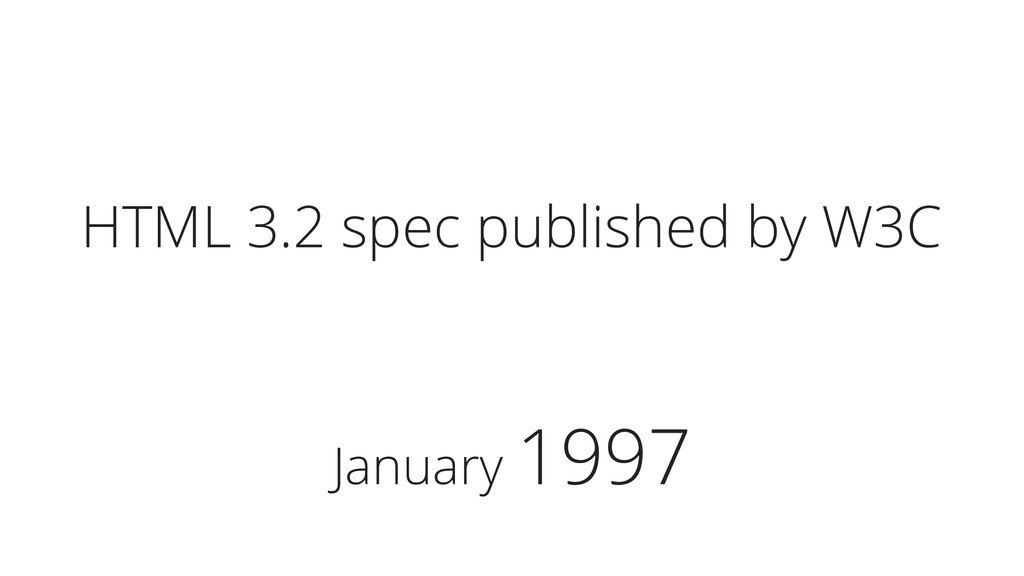 January 1997 HTML 3.2 spec published by W3C