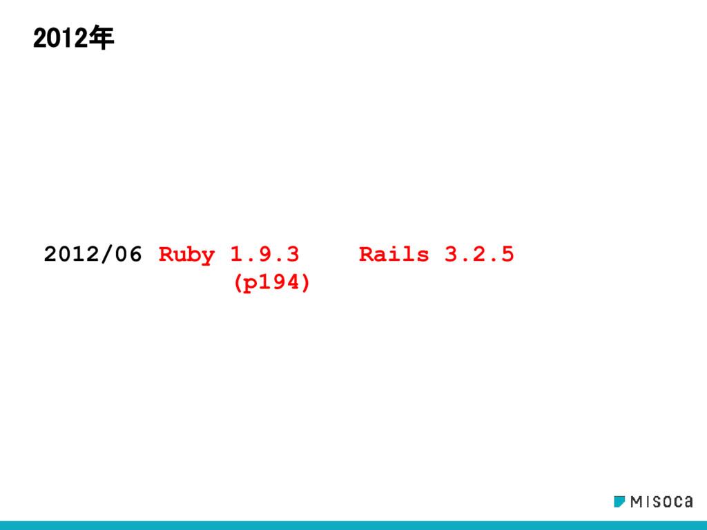 2012年 2012/06 Ruby 1.9.3 (p194) Rails 3.2.5