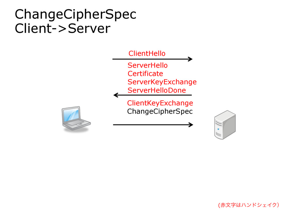 ChangeCipherSpec Client->Server ClientHello Ser...