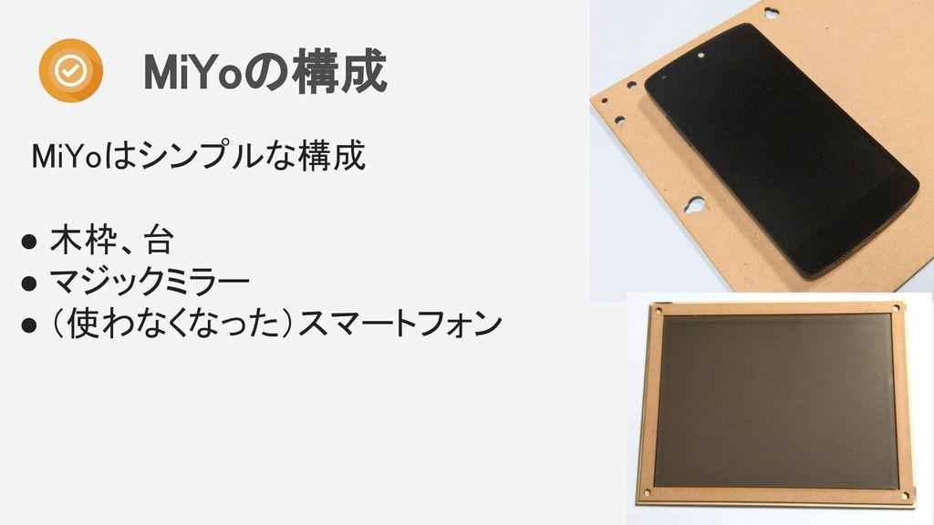 MiYoの構成  MiYoはシンプルな構成  ● 木枠、台 ● マジックミラー ● ...