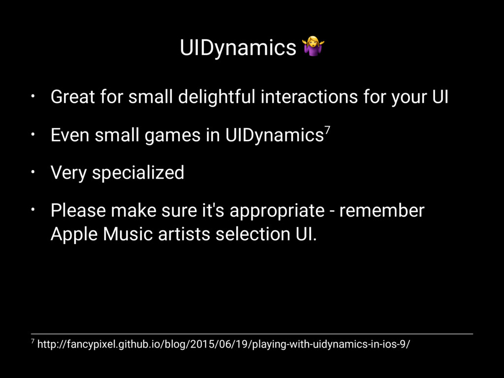 UIDynamics ! • Great for small delightful inter...