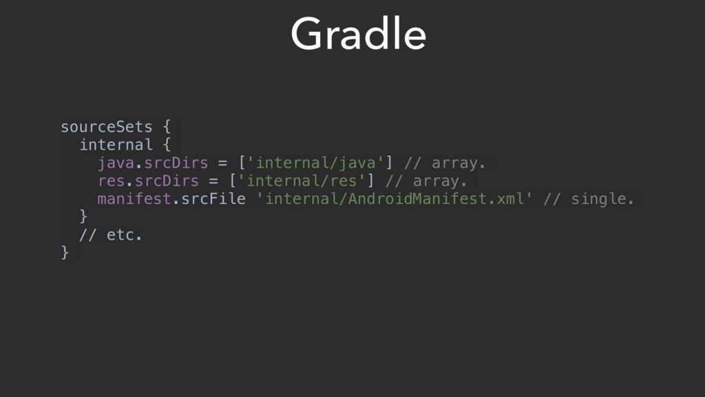 Gradle sourceSets { internal { java.srcDirs = [...