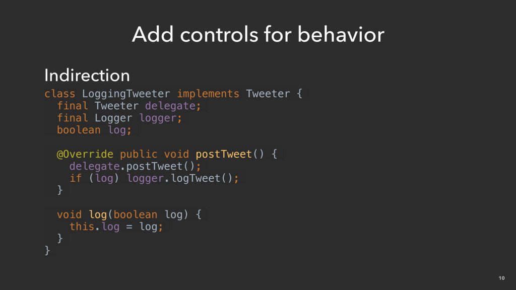 10 Add controls for behavior Indirection class ...