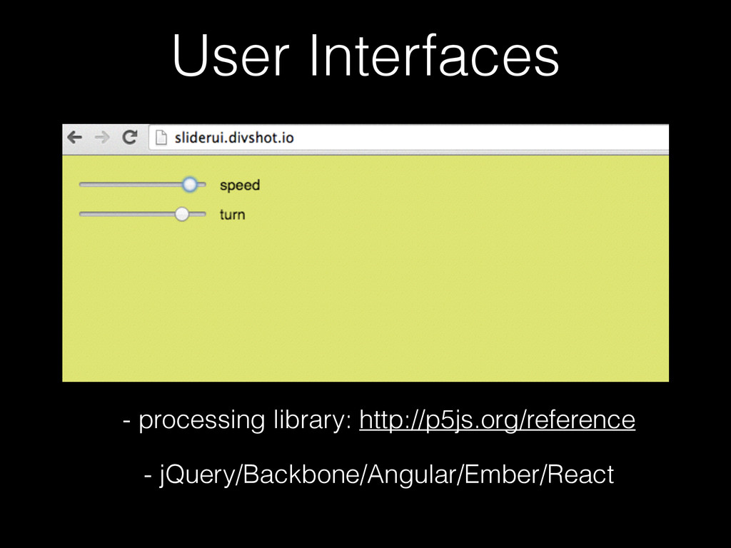 User Interfaces - processing library: http://p5...