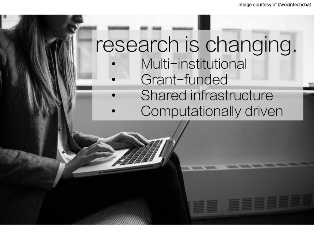 research is changing. •  Multi-institutional • ...