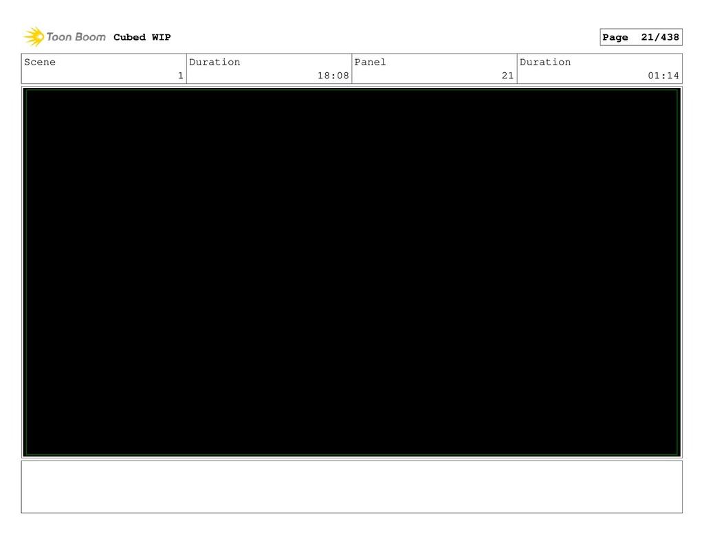 Scene 1 Duration 18:08 Panel 21 Duration 01:14 ...