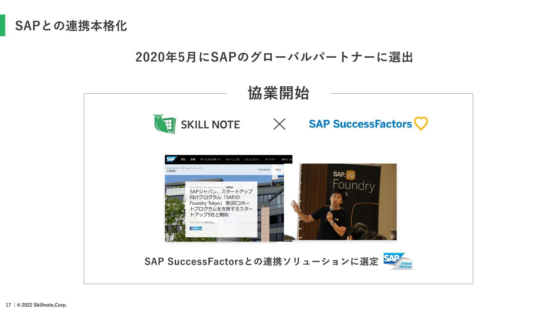 SAPとの連携本格化 2020年5⽉にSAPのグローバルパートナーに選出 SAP Succes...
