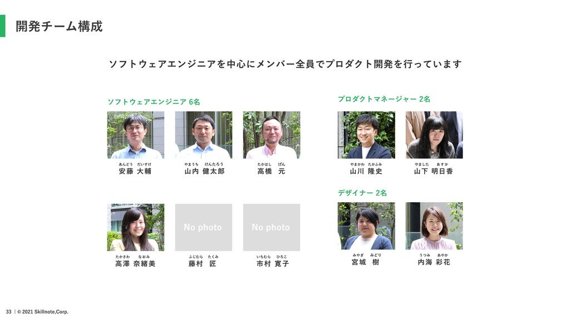 開発チーム構成 ソフトウェアエンジニア 6名 プロダクトマネージャー 2名 デザイナー 2名 ...