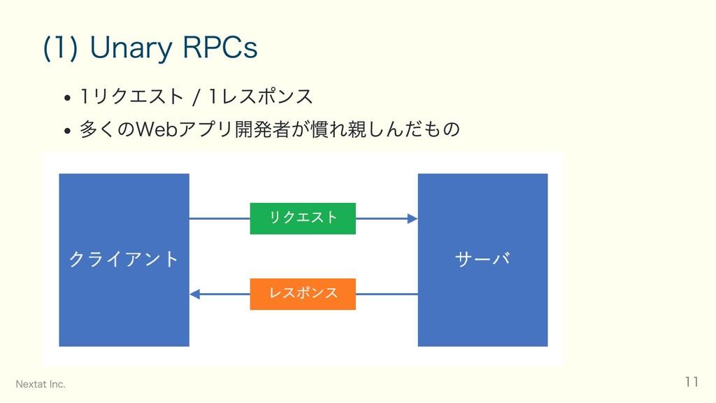 (1) Unary RPCs 1リクエスト / 1レスポンス 多くのWebアプリ開発者が慣れ親...