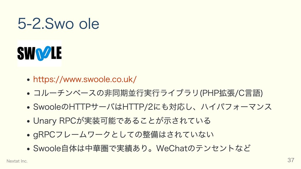 5‒2. Swoole https://www.swoole.co.uk/ コルーチンベースの...