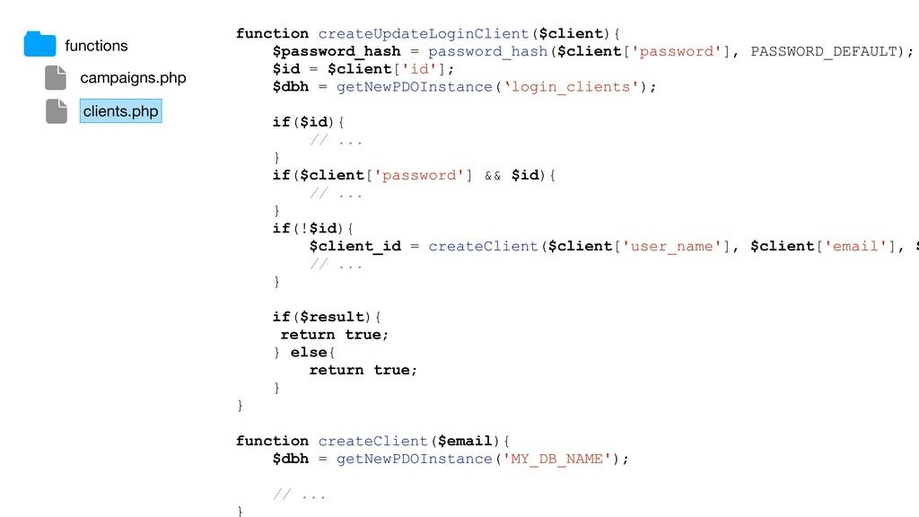 function createUpdateLoginClient($client){ $pas...