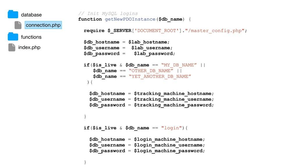 // Init MySQL logins function getNewPDOInstance...