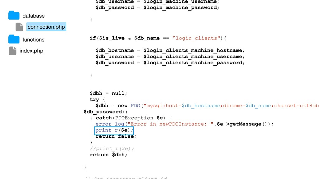 $db_username = $login_machine_username; $db_pas...
