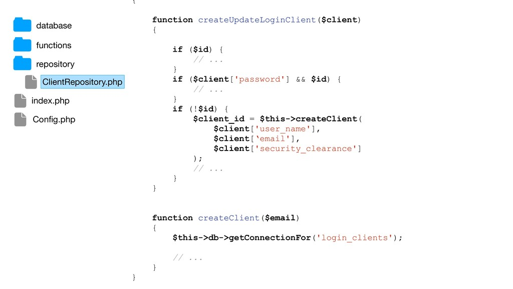 { function createUpdateLoginClient($client) { i...