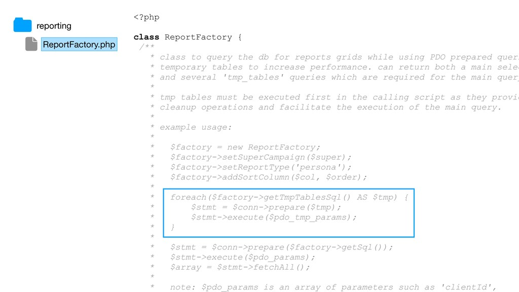 <?php class ReportFactory { /** * class to quer...
