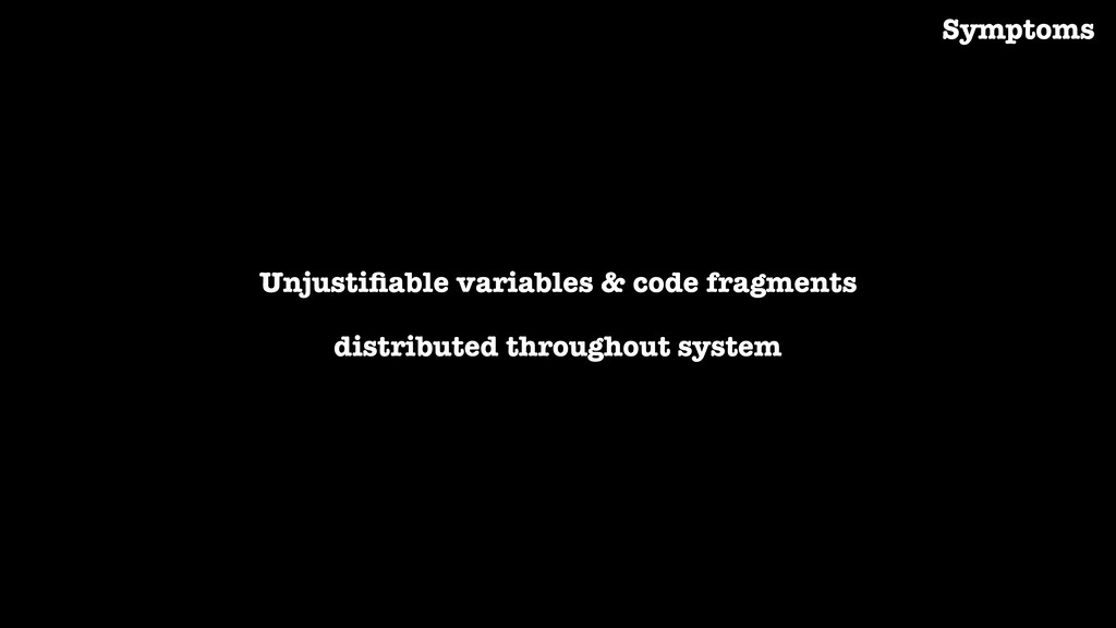 Unjustifiable variables & code fragments distrib...