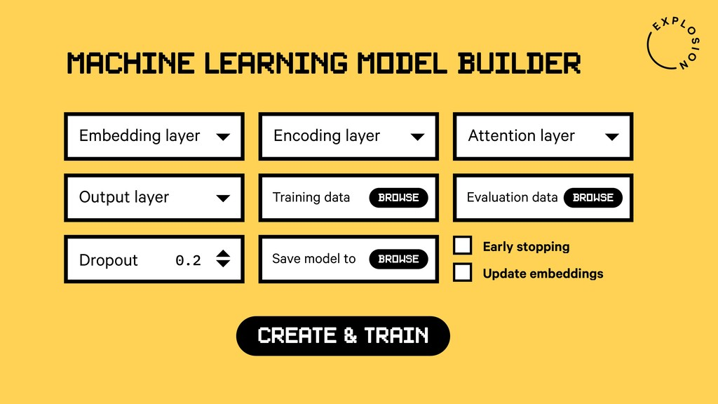 Machine Learning model builder Embedding layer ...