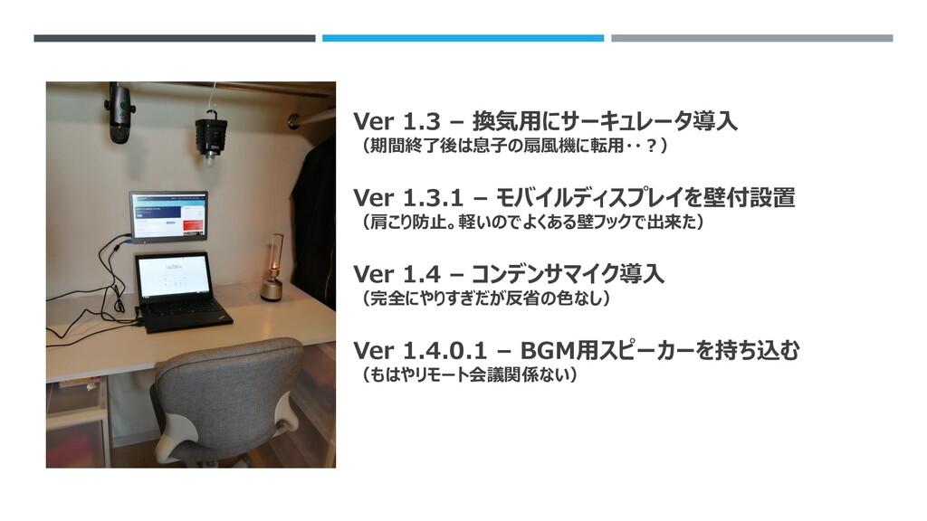 Ver 1.3 – 換気用にサーキュレータ導入 (期間終了後は息子の扇風機に転用・・?) Ve...