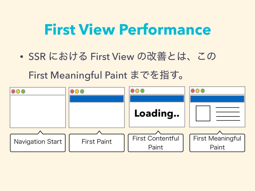 First View Performance • SSR ʹ͓͚Δ First View ͷվ...