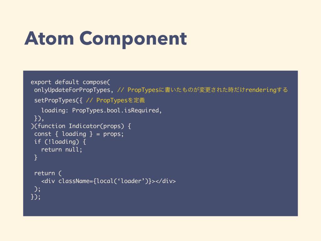 Atom Component export default compose( onlyUpda...