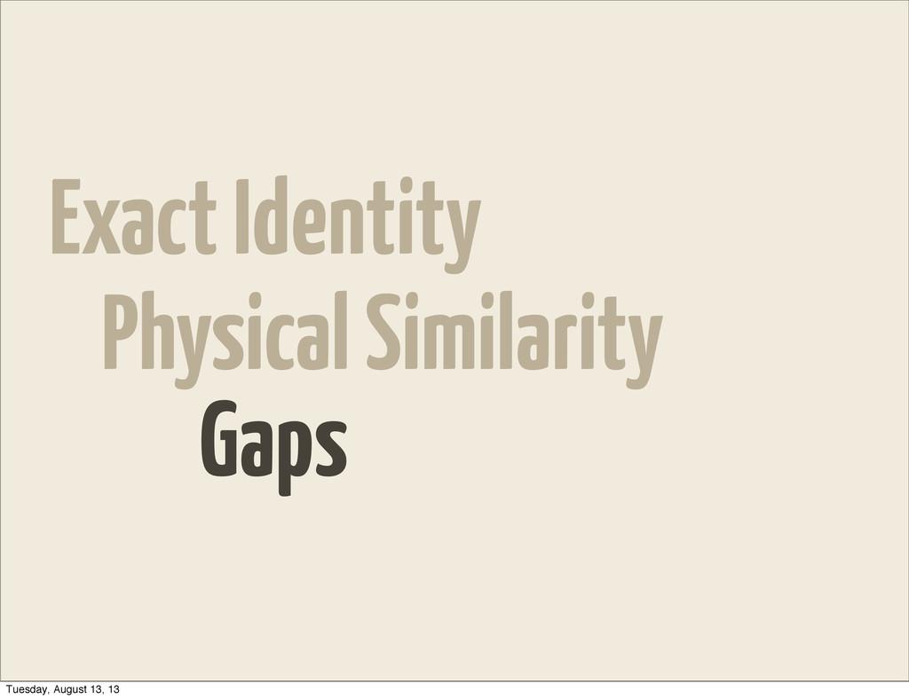 Exact Identity Physical Similarity Gaps Tuesday...