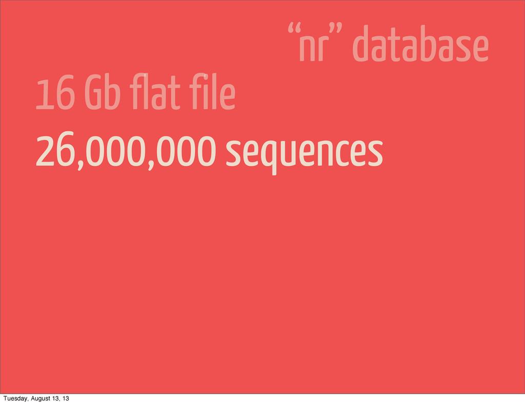 "26,000,000 sequences 16 Gb flat file ""nr"" datab..."