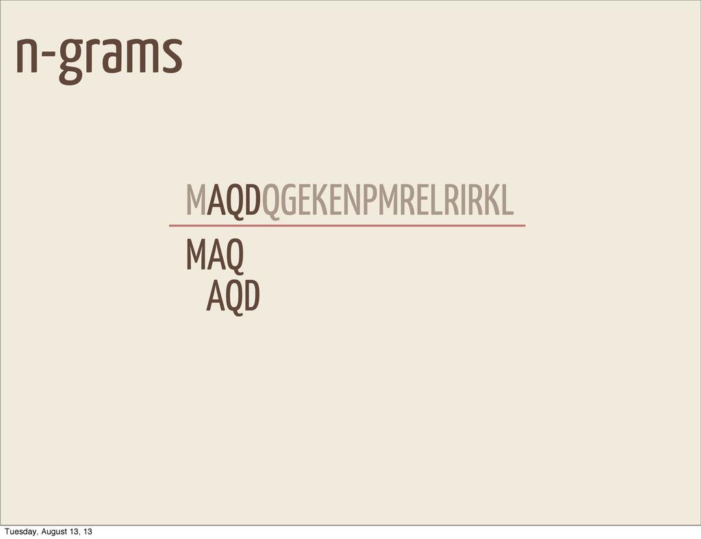 n-grams MAQDQGEKENPMRELRIRKL MAQ AQD AQD Tuesda...